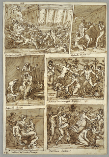 Triumph of Bacchus and Arianna; Madonna with female figure; Madonna and infant with St. Anna, St. Elizabeth; Bacchic representation; Sacred Family with St. John. Verso: five studies of horse heads; lion head.