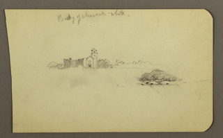 Drawing, Church, trees, cattle, February 1890