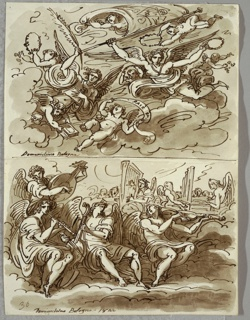 Upper drawing of two angels and seven putti atop clouds bearing various symbols--wreathes, banner, palm, book, and banderole with inscription. Lower drawing of seven musician angels on clouds with instruments with choir in background.