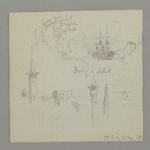 Verso: Two Heads, Steamship, Rooftops, Minarets