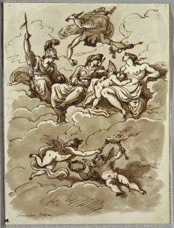 At top, Mercury, flying upside down, hovers over figures of Minerva, Juno and Venus with Amor seated on clouds; two winged putti with torches and wreath float below.