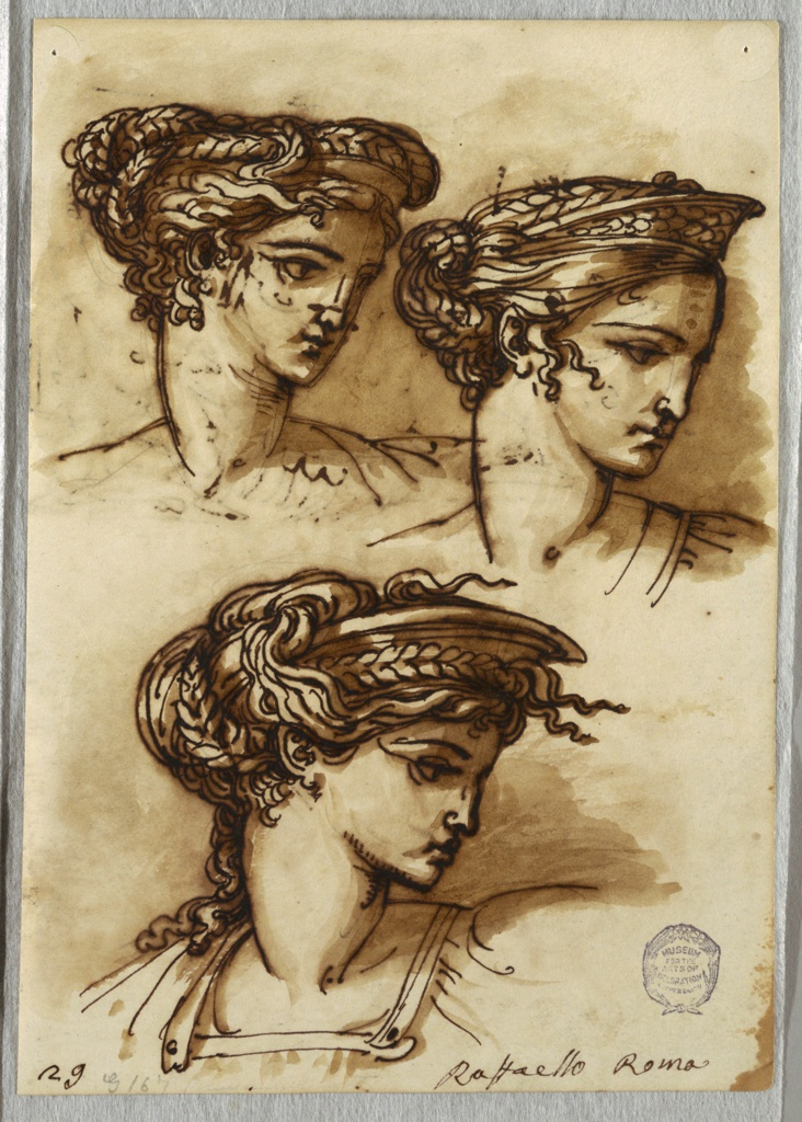 Three female heads with two upper ones in three quarter view and looking right; lower head in full profile to right. All feature braided hair wound around their heads, and arranged in a kind of diadem.
