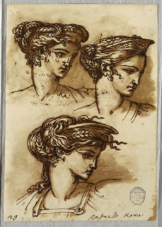 Sketchbook Folio, Three Studies of a Head with Diadem and Braided Hair, after Raphael