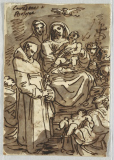 Upper drawing of Reclining Christ figure on clouds supported by putti and God the Father. Lower drawing of the Adoration of the Magi with the Holy Family at right and the Kings at left; an ox at center back- ground.