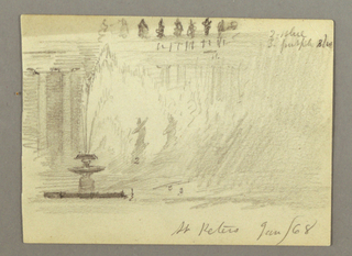 Recto: Horizontal view showing the Piazza di San Pietero with one of the fountains in the left foreground and two soldiers with shouldered guns marching in front of the colonnades.  Verso: Horizontal view with the lantern of the dome of St. Peter's Basilica shown in the left foreground against the background of the left Tiber River bank and the sky.