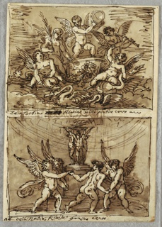 Upper drawing of five putti in and around chariot pulled by swans and dolphin. One putto rides swan, while another rides dolphin. Other three play musical instruments. Lower drawing of four dancing putti circling smoking altar upheld by statues of three female nudes on round plinth.