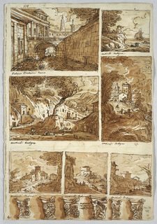"Recto: page divided into eight parts, from left to right: Palazzo Barberini shown from rear; view of seashore; two views of castle towns surrounded by mountains; all works by Martinelli.  At bottom: six left halves of capitals.  Verso: top: pitcher with handle on top; Dionysus represented on body.  Two-handled vase; ""1814"" written on it.  Pitcher with handle, shown sidewise.  Center row:  two-handled kraters.  Bottom row:  two-handled bottle.  Vase with snakes as handles."