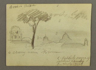 Recto: Horizontal view of the St. Peter's Basilica and the Vatican with a man and a woman standing in the left foreground.  Verso:  Horzontal view of roofs and domes with a tree in the foreground.