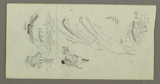Drawing, Figure Riding Camel, Figure alking, Hilside, and Hilltop, possibly 1868