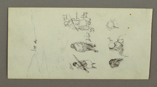 Verso: Figure Studies, Side of Pediment and Column