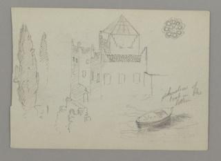 Verso: Figure, Steamer at Sea, Rainbow