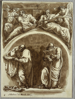 At lower left, St. Peter standing within arched niche, with book and crossed keys at feet; at right St. Paul standing, leaning on sword and reading book. At upper left, seated prophet and angel both with books; at upper right, seated sybil reading scroll, one end of which held by angel. Coat of arms with crown and suggestion of eagle at upper part of composition.