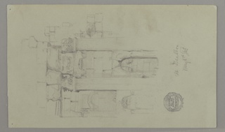 Recto: Sketch of two columns and broken masonry; Below, a blind arch; Verso: View of a temple seen from the flank.