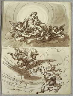 "Upper drawing of Madonna and Child, seated on clouds supported by five angels. Lower drawing of winged male figure in classical armor with spear and shield flying in air pursuing figure with pitchfork-- Lucifer(?) [""Lucifer"" seems to have an extra head and pair of arms?]."