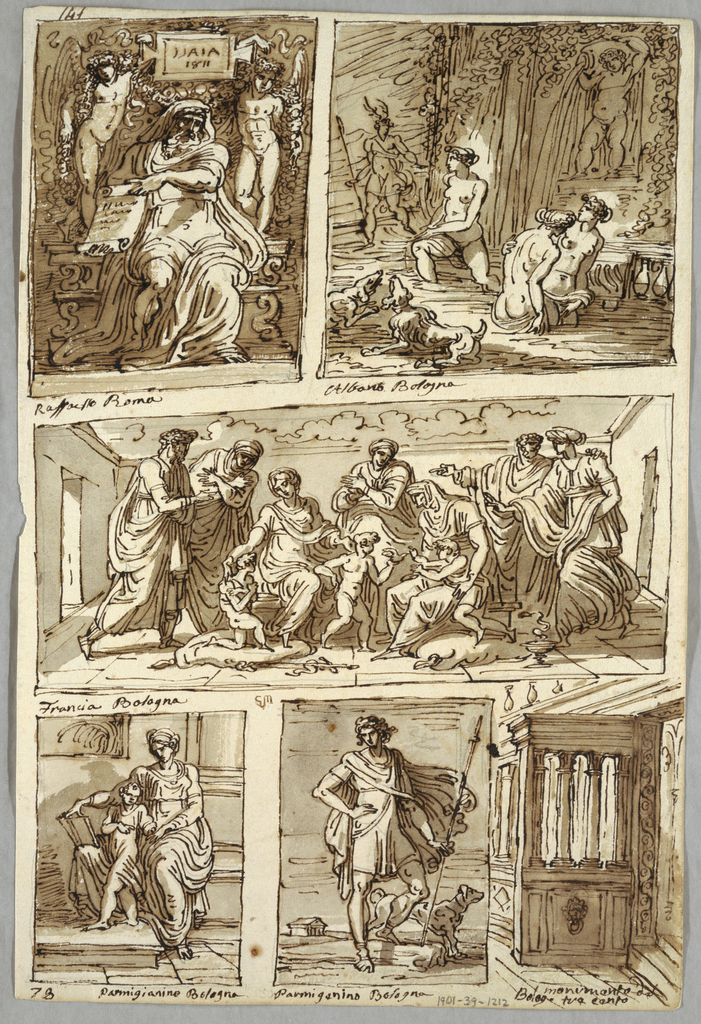 """Double sided sheet from sketchbook. Recto, sheet divided into six rectangles, each showing unique scene. Top left rectangle, Isaiah shown between two angels, inscription on tablet between angles: ISAIA 1811. Also inscription below rectangle: Raffaello Roma. Top right rectangle, Diana and Actaeon with inscription below: Albani Bologna.  Middle rectangle, families of Virgin and Elizabeth. Inscription below: Francia Bologna. Bottom right rectangle, Virgin teaches child to read. Inscription below: Parmigianino Bologna. Bottom middle rectangle, Adonis starting hunt. Inscribed below: Parmigianino Bologna. At left top corner, """"141"""" and at left bottom corner """"78"""". Verso, three anatomical studies of arms, indicating muscles and bones. Three caricature heads in profile."""