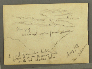 Recto:  Horizontal view of narrow steep valley, receding to the cloud capped Jungfrau.  Verso: Horizontal view of sky with clouds over mountain sides.