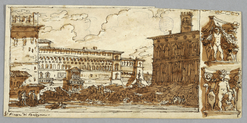 Square shown on market day. City Hall in rear, Palazzo del Podestà at right, fountain of Neptune between; inscribed at left bottom corner: 57 Piazza di Bologna. At right, two Renaissance capitals. On verso: besides bottom parts of designs -1380: columns three details of arcades.