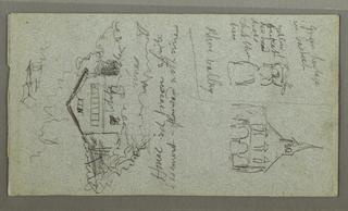 Drawing, Women Carrying Baskets, House, Cascade