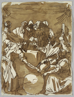 Drawing, Magi Conversing about Heavenly Bodies, after Perino del Vaga, ca. 1820