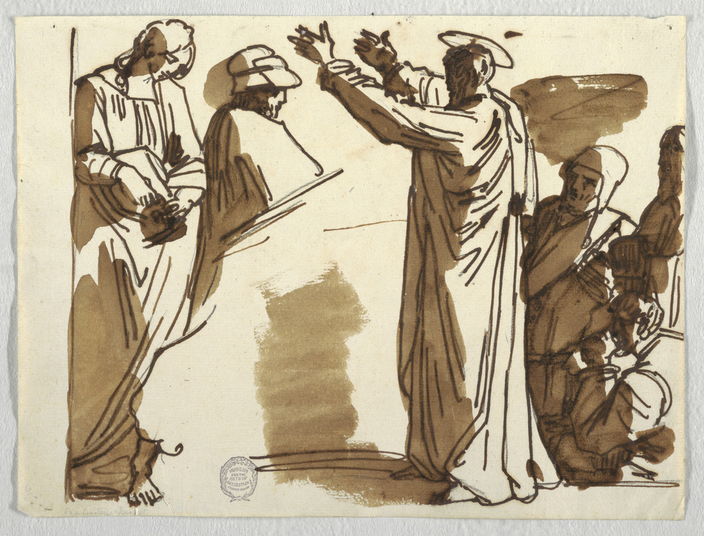 A haloed figure gestures to a woman and two men.