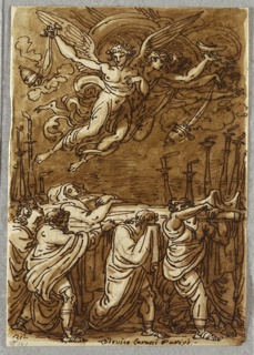 Sketchbook Folio, The Apostles Carrying the Body of the Virgin to the Tomb, Study after Lodovico Carracci, 1813–18