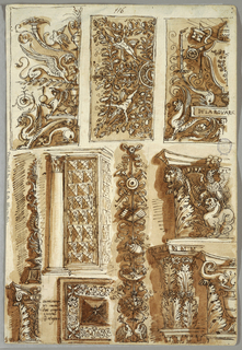 Sketchbook Page: Folio 58, 116, 117. Double sided folio. Recto: left half of grotesque panel, c. 1500. Left half shows square ceiling and coat of arms of Pope Julius II (1503-13), with inscription: Dela Rovare. Center row:  Renaissance candelabrum, gothic doorway, 15th century trophy of pastoral attributes. Capital with eagle and dragon. Bottom: three capitals, one of them with inscription: Gotico munumento. Inscribed under decorative design: monumenti cavati dal cinquecento Bologna. Inscribed at top center: 116. Verso:  arcades, parts of columns, entablatures, and capitals. At bottom left, seven decorated moldings. Inscribed at top: 117.