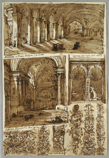 At top, atrium of archbishop in Bologna, shown with view of cathedral; inscribed: atrio/ Bramante s Pietro Vescovato. At left, interior of cathedral by Domenico Tibaldi, 1575; inscribed: S Pietro Bramante Bologna. At center, segment of stalls from S. Michele in Bosco, by Fra Raffaele, 1521. Two niches: priest hearing confession from woman; inscribed above: monumento del cinque cento S Michele in/ Basco Bologna 1811. Bottom: panel with eagle over cornucopias, candelabrum. Right half of capital; trophy of arms; two candelabra. Inscribed at bottom: monumenti del/ cinquecento. Bologna. Inscribed at top center: 129. Inscribed at left bottom corner: 67. Verso: Twenty studies on proportion; fourteen studies of heads; foot study; study comparing head, foot and hand.