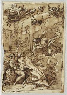 Swooning Saint with book on ground before him; Saint supported by an angel and another figure (God the Father?) hovers above at right. Angels and cherubim on clouds above.