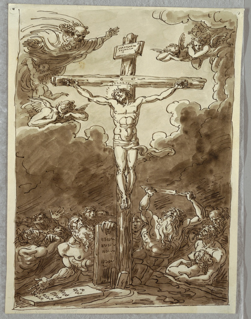 Christ on Cross, great mass of seemingly nude figures at lower third of sheet; bearded male figure holds knife. God the Father at upper left with weeping angel below him; at upper right are two angels. Above Christ's head is plaque, and two tombstones at lower left have simulated inscriptions.