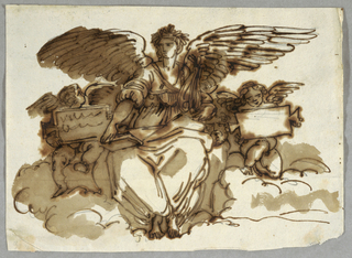 A winged figure seated and flanked by two putti, each of whom holds an inscribed tablet.