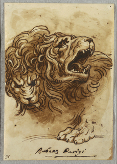 Sketchbook Folio, Two Lion's Heads, 1813–18