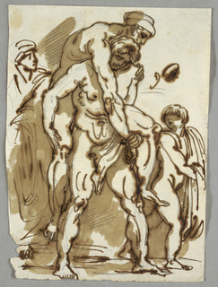 Aeneas carries his father Anchises, on his back, and leads his son Ascanius, by the hand.