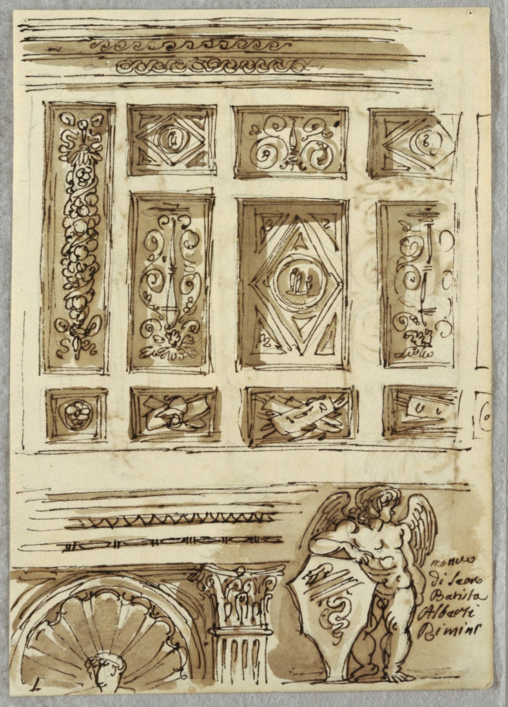 Upper section of drawing of coffered ceiling with decorations of garlands, grotesques, trophies, and one figurative roundel. Belowan architrave with moldings, top of shell-niche with head, and corinthian capital.  At lower right, winged putto holding shield.  Putto, shell niche, and capital from Capella di Sigismondo, Tempio Malatestiano.