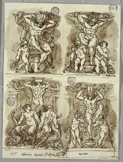 All four drawings of herms flanked by putti and supporting bracket; lower left drawing of herm flanked by male and female satyr, and two female herms.