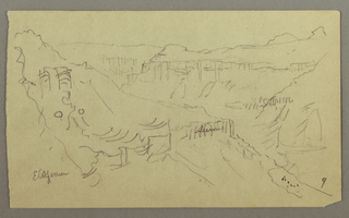 Recto:  Horizontal view of the winding valley leading into the background, with the rear wall visible in left background, and indications of a caravan and poins near the base of one hillside in the right foreground.