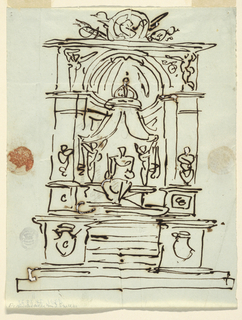Vertical rectangle showing design for a monument with steps leading to a niche with figure. Above, two putti hold the wings of a canopy; on top, a trophy.