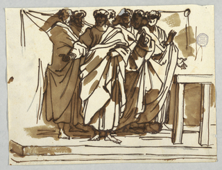 "Group of seven apostles based on Raphael's ""The Death of Ananias."""