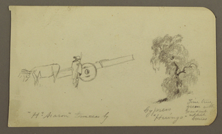Drawing, Figure and ox Cart, Cypress Tree; Verso: View across Cuitzeo Lake, January 1885