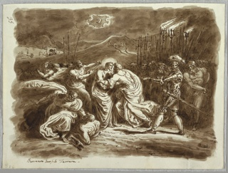 In nocturnal landscape with crescent moon, Judas gives kiss of betrayal to Christ at center. Military commander and soldiers at right, men struggling at left.