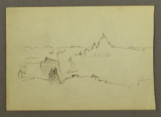 Recto: Horizontal distant view of St. Peter's Basilica from the North, showing the church rising at right against the background of a hill ridge. Verso: Horizontal study of sky with clouds probably a continuation of the representation of the Rome skyline seen on the reverse of 1917-4-154.