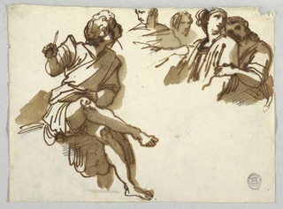 Seated boy, head and part of right leg shown. Drawn twofold. Two poets at right of Homer and half-figure shown  next to standing Muses, which are at left of Apollo.