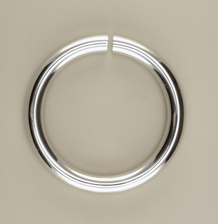 A silver circle ring necklace.