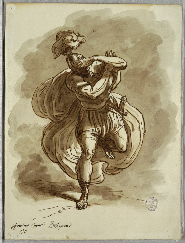 Soldier in classical dress, with billowing cloak, helmet, and sword, plunges forward, lunging on his right leg, his arms protecting his face and eyes.
