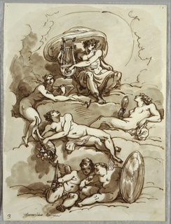 Above, Apollo with lyre, sitting on cloud. At center and at left, three reclining nymphs or goddesses. One with book and trumpet, one with cornucopia, and one with mirror. Below, two winged putti, one holding short sword, and one putti with round shield.