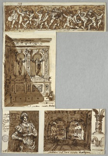 Double sided sheet from sketchbook. Recto, courtyard shown through double arcade in room. At right, column detail; group of columns.  Inscription: Fabrica del due cento Bologna. Verso, left hand and top part of left leg.