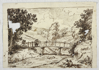 Landscape with two figures drawing in foreground and figures crossing bridge.