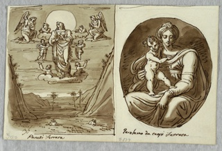 Left, Resurrection scene in desert landscape with mountains, plain, and few sparse trees. In upper center, Christ with very large halo stands on cloud; six putti surround him and two kneeling angels flank him. Right, the Madonna and Child in an oval.