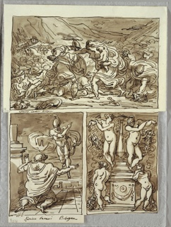 Upper drawing of two figures in combat, warrior with sword and shield, and woman with babe in arms. Other figures in combat in background, and at both sides. Lower left, kneeling old man in robes, with warrior figure in mid air above and to right. Lower right, candelabrum flanked by putti at base, and by nude females above, both pairs holding garlands.