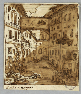 Stream bordered by houses with landings in foreground. House crosses stream as does bridge. Two riders on horseback cross stream. Boat. Inscribed: il reno in Bologna. Verso: four moldings.