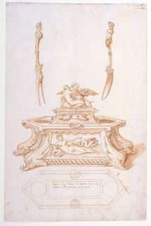 Drawing, Design for a Salt Cellar and Egg Dish with Fork and Spoon